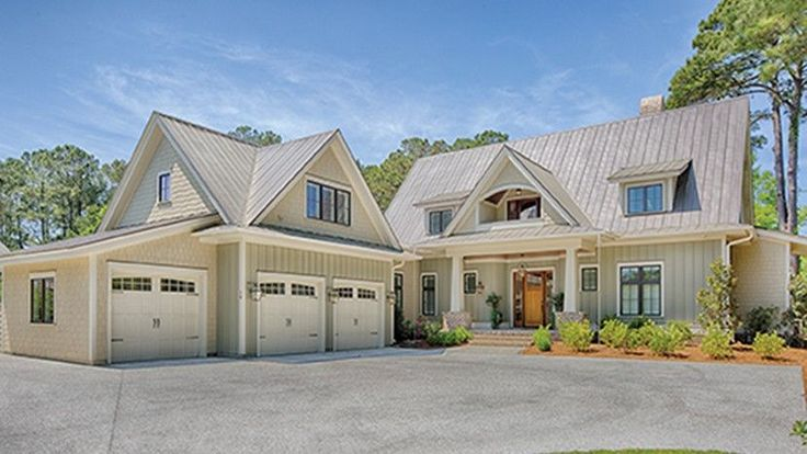 Home Plan HOMEPW77020 - 3238 Square Foot, 4 Bedroom 4 Bathroom + Low Country Home with 3 Garage Bays   Homeplans.com
