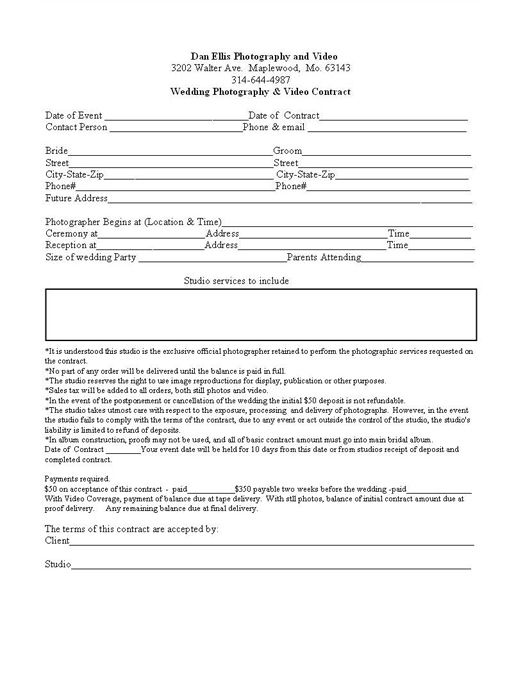 25 best ideas about Wedding Photography Contract – Videography Contract Template