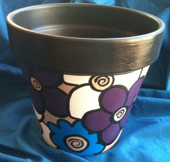 Handpainted terracotta pot, Beautiful Metallic Purple and Blue Flowers, 8 inch FREE SHIPPING by CrawfordBunch on Etsy