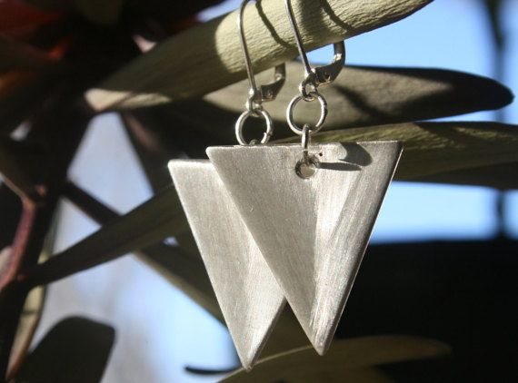 Silver Triangle Earrings Brushed by RambleRove on Etsy