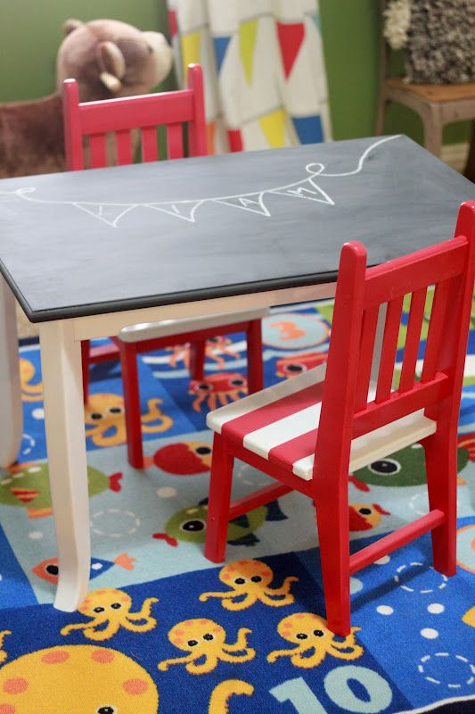 Table and chairs turned up a notch! Eat your breakfast while drawing (for kids only lol)!  Ikea hack?