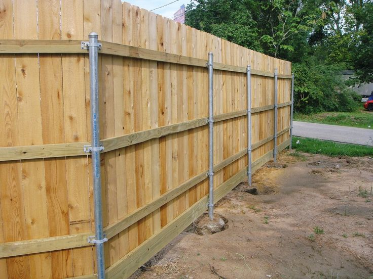 wood fence with metal post building construction diy building wooden