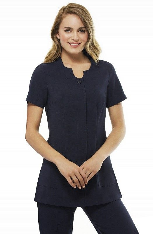 Eden Beauty Tunic (H133LS)   (incl GST) 69.00 Description  97% Polyester, 3% Elastane. New Teflon® stain release stretch fabric. Concealed button through front. Two front pockets. Centre back action-back pleat. Semi-fitted, longer line with deep side splits. New colour available: Navy. 230gsm. MODERN FIT