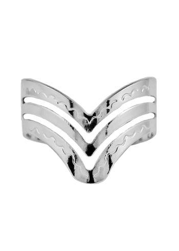 Anel chevron prata 925