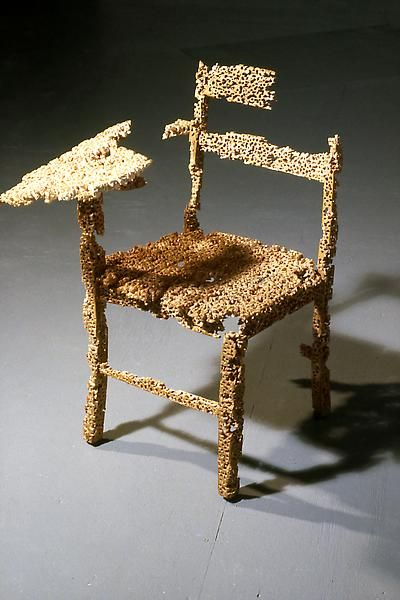 Tom Friedman  Untitled, 1992  Wooden school chair  34 x 22 x 22 inches  Hundreds of holes drilled into a wooden school chair
