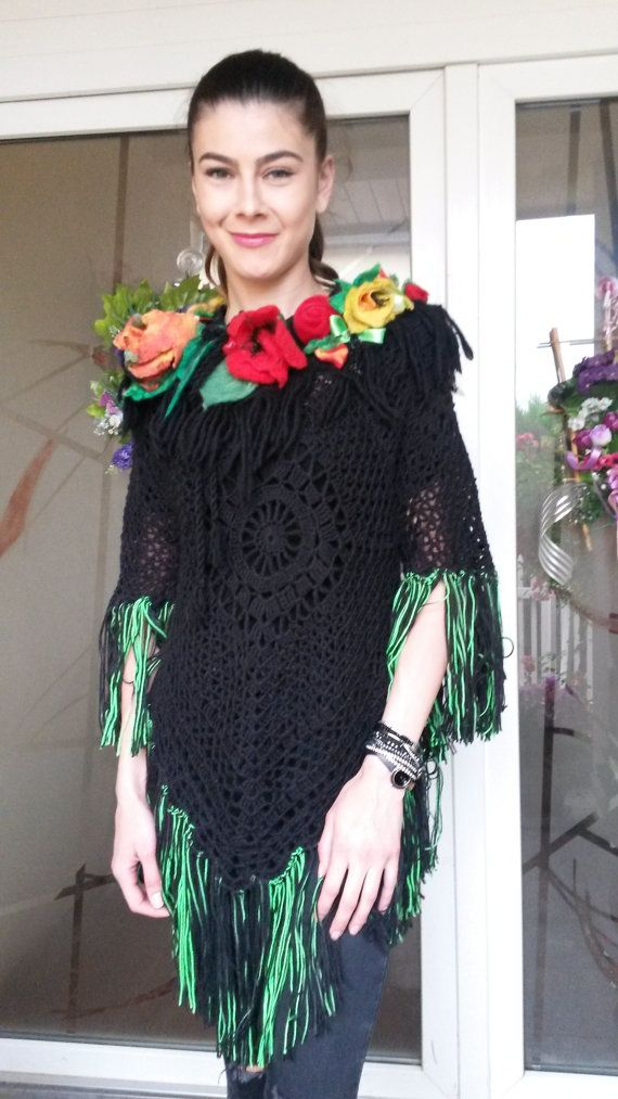 Poncho/Blouse/Tunic/Handmade /Bohemian by AnnesMagicCrochet