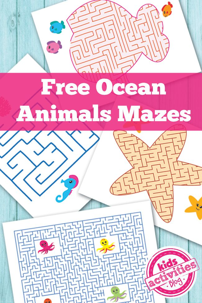 Free Ocean Animals Printable Mazes for Kids - Kids Activities Blog