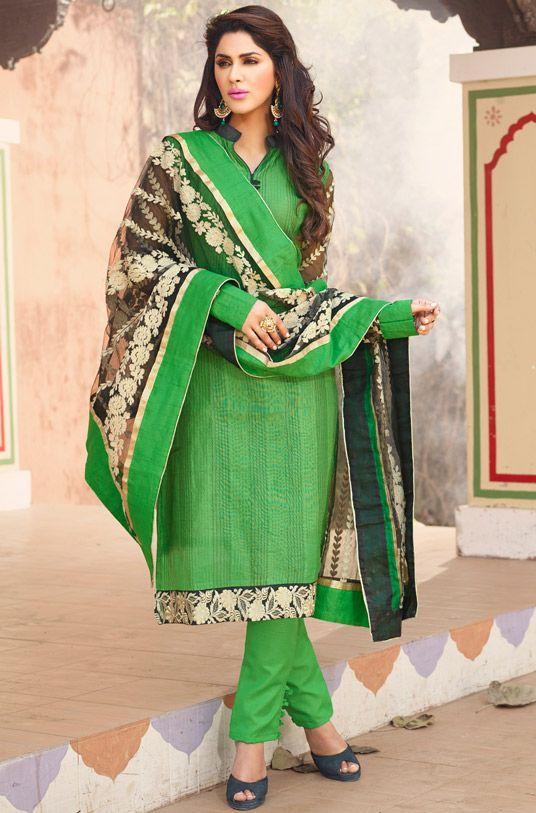 $24.32 Green Chanderi Cotton Churidar Suit 56533