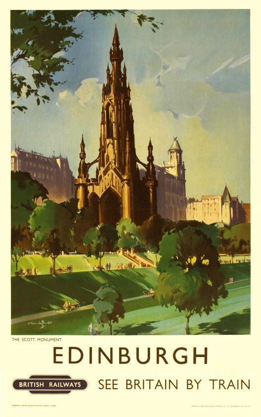 1950 Edinburgh, see Britain by train, The Scott monument, British Railways vintage travel poster