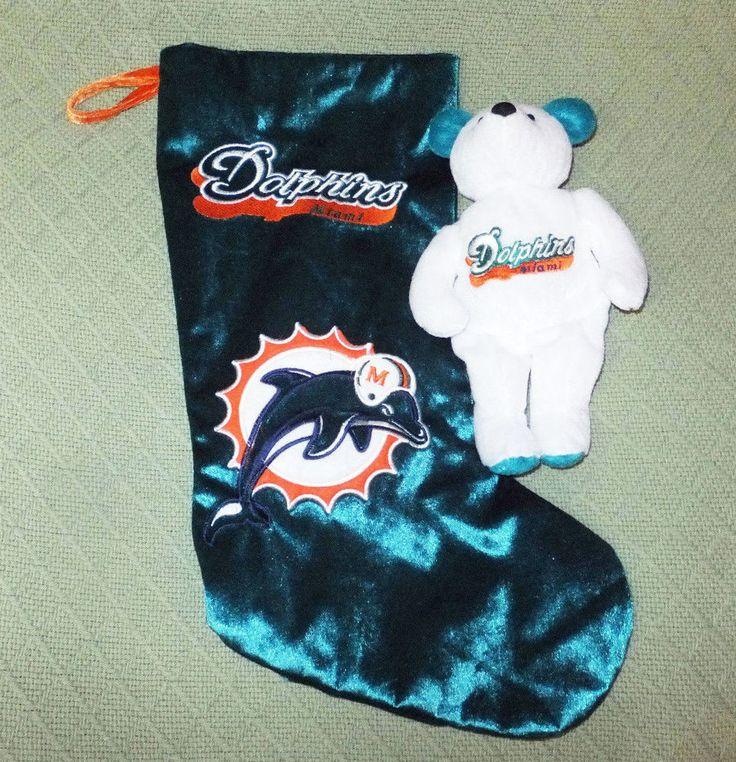Miami Dolphins Christmas Stocking & Beanie Marino Teddy Bear NFL Sports Souvenir #MiamiDolphins