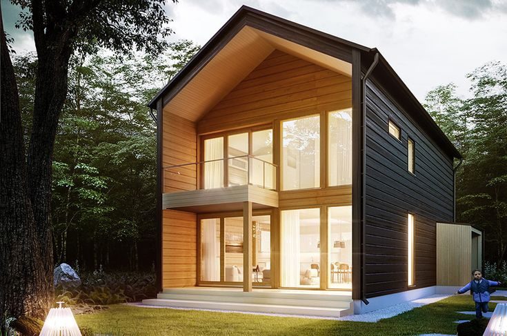 Honka Vista is a modern log home design that combines warm wooden surfaces and urban details.