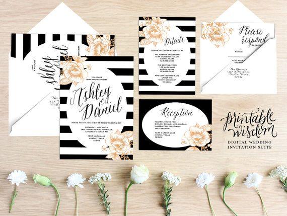 Printable Wedding Invitation Suite Floral wedding invite stripes gold rustic wedding RSVP card DIY digital invitation set Printable Wisdom