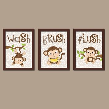 MONKEY Bathroom Wall Art CANVAS or Prints Boy Girl Brother Sister Bathroom Wash Brush Flush Bathroom Rules Set of 3 Kid Bathroom Child