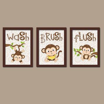 MONKEY Bathroom Wall Art CANVAS or Prints Boy Girl Brother Sister Bathroom Wash Brush Flush Bathroom Rules Set of 3 Kid Bathroom Child