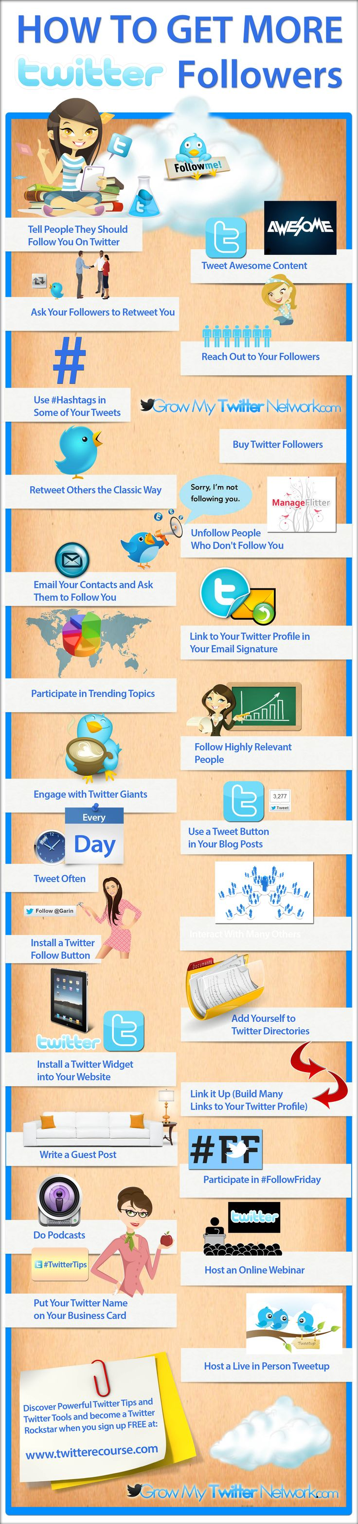 Check out this awesome new infographic and discover how to get more Twitter followers and easily grow a massive and powerful #Twitter network! Featurin