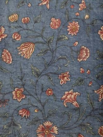 Nightgown/banyan lining  of glazed cotton mid 18th century