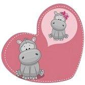 hippo girl : 인사말 카드 귀여운 꿈꾸는 마
