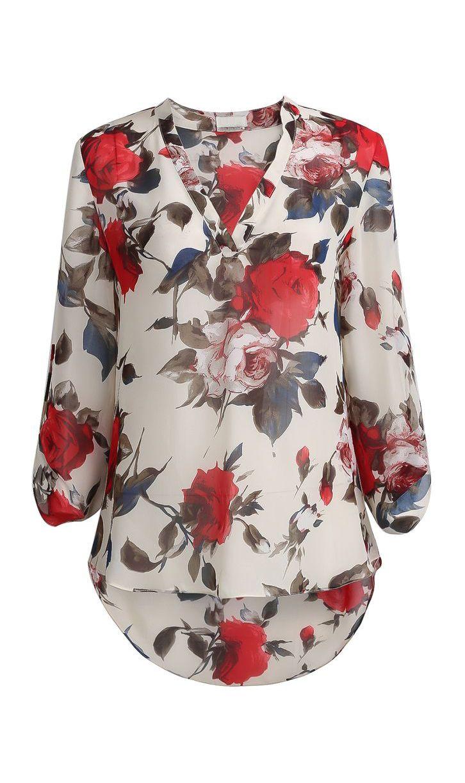 Apricot Long Sleeve Floral Print Blouse