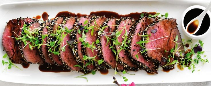 RECIPE: Sesame-Crusted Beef with Ponzu Dressing. Brought to you by MiNDFOOD.