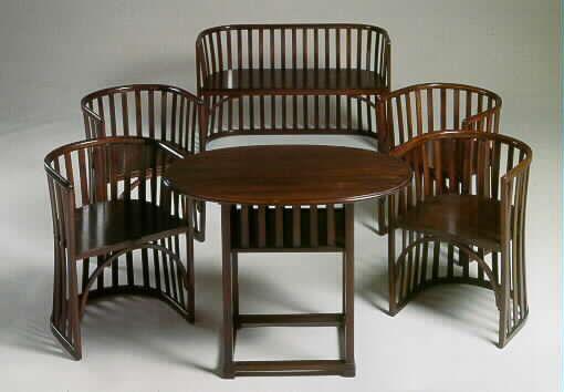 A Thonet bent beechwood six-piece salon suite, attributed to Josef Hoffmann