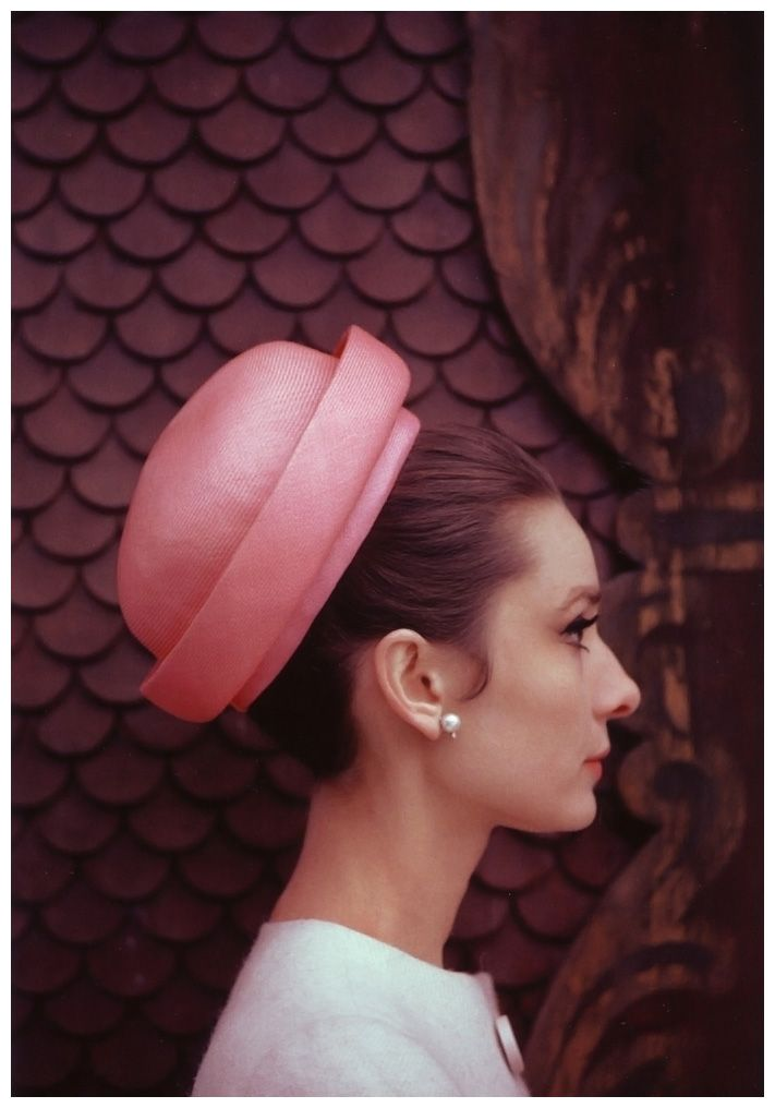 Audrey Hepburn wearing hat and dress designed by Givenchy, LOVE this hat!!