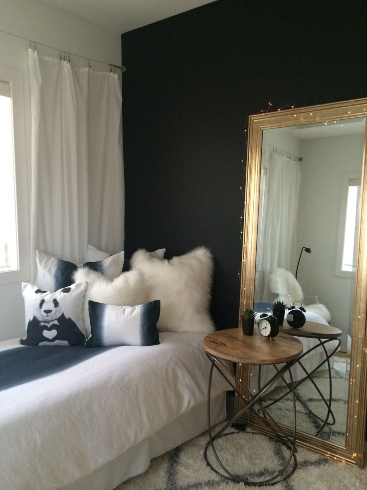 Black And White Teen Bedroom Restoration Hardware Teen Bedding Ikea Drapes.  Black Paint Behr Totally