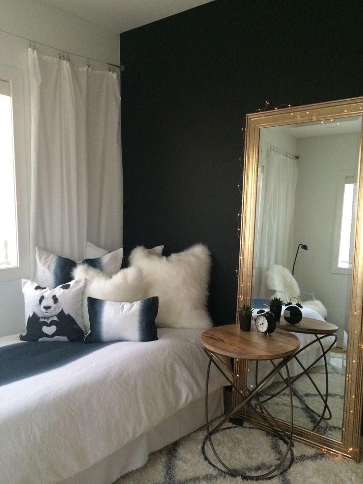 Black and white teen bedroom restoration hardware teen bedding ikea drapes. Black paint Behr totally black.