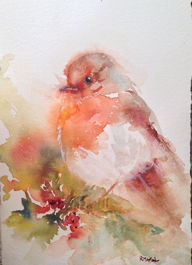 Little robin christmas robin bird art watercolor