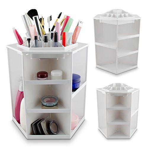 VENKON - Make Up Organizer Sortierkasten für Aufbewahrung von Kosmetik - 360 Grad drehbar - weiß