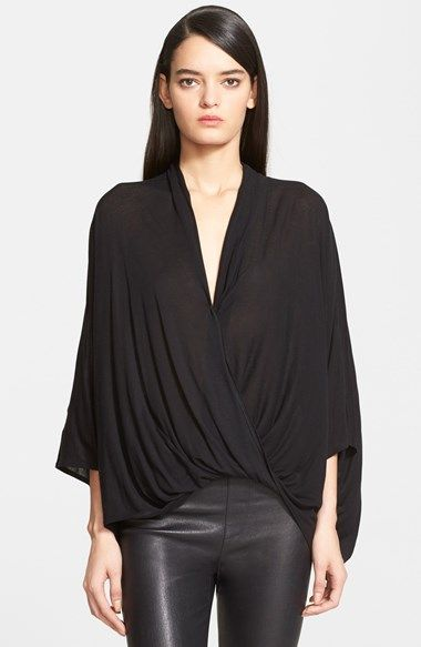 Free shipping and returns on Helmut Lang 'Entity' Draped Jersey Top at Nordstrom.com. Generous draping shaped by a slack twist at the front hemline shapes an elegant batwing-sleeve top, left loose and boxy in back.