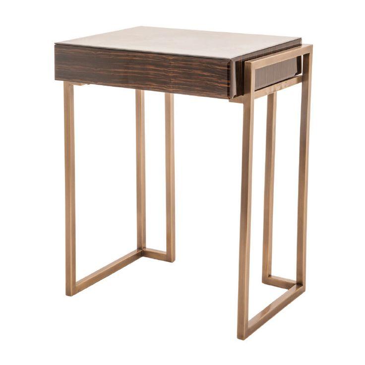 The Metropolitan Gold & Dark Wood Side Table