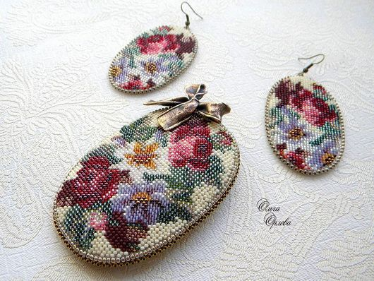 bead embroidery reminds beautiful old-fashioned and vintage things because of old golden-embroidered techniques.