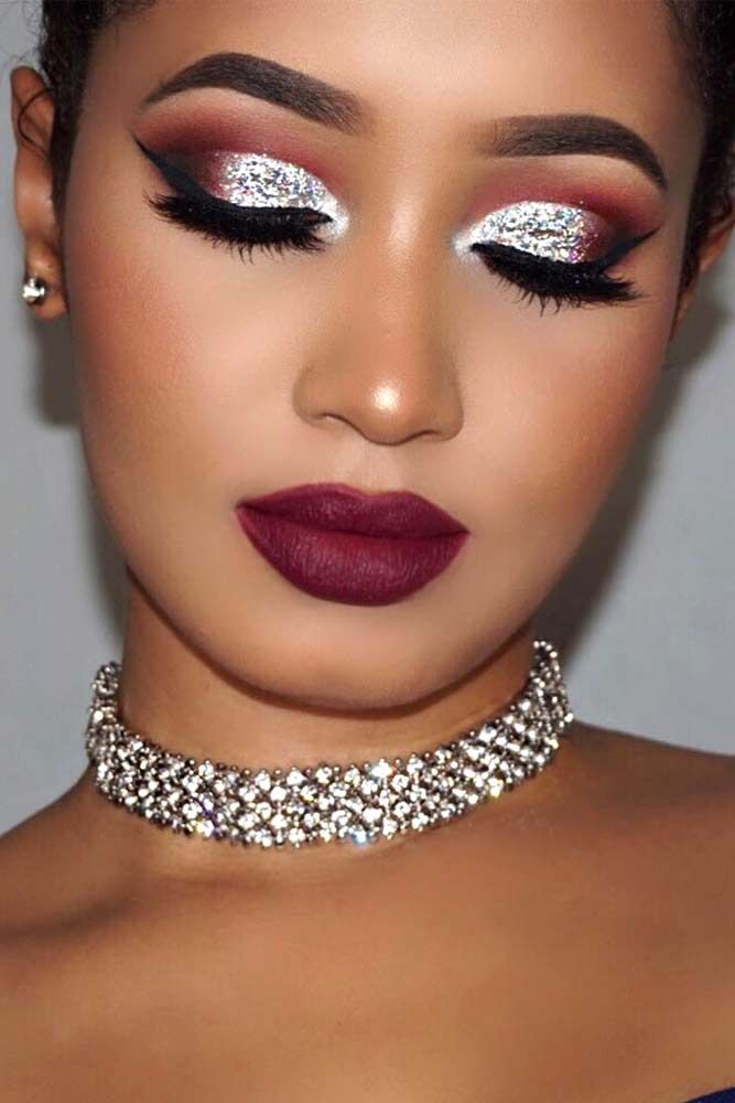 Gorgeous Combination Of Grey Eyeshadow And Dark Maroon Lipstick picture3