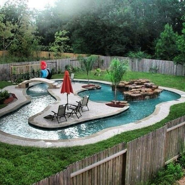 32 Fascinating Lazy River Pool Ideas That Should You Make In Home Backyard Thelatestdailynews Backyard Pool Landscaping Backyard Pool Pool Landscaping