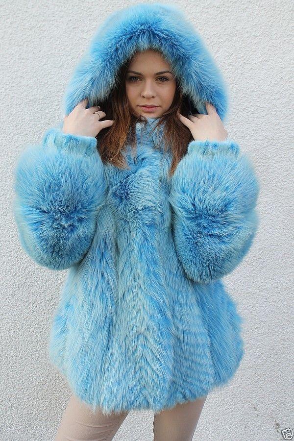 dyed light blue fox fur parka | Fox fur coats | Pinterest ...