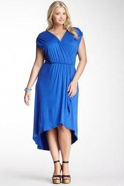 0b30e3e3579 Loveappella Hi-Lo Wrap Maxi Dress - Plus Size  fancyplussizedresses ...