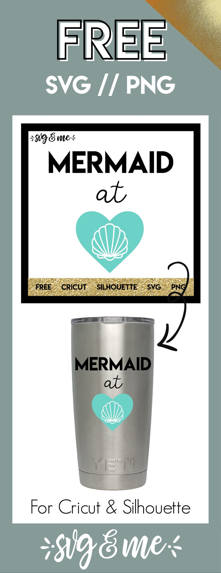 **FREE SVG CUT FILE** for Cricut, Silhouette and more - Mermaid at Heart Free SVG to make tumbler, beach tote, etc. #cricut #silhouette #mermaid