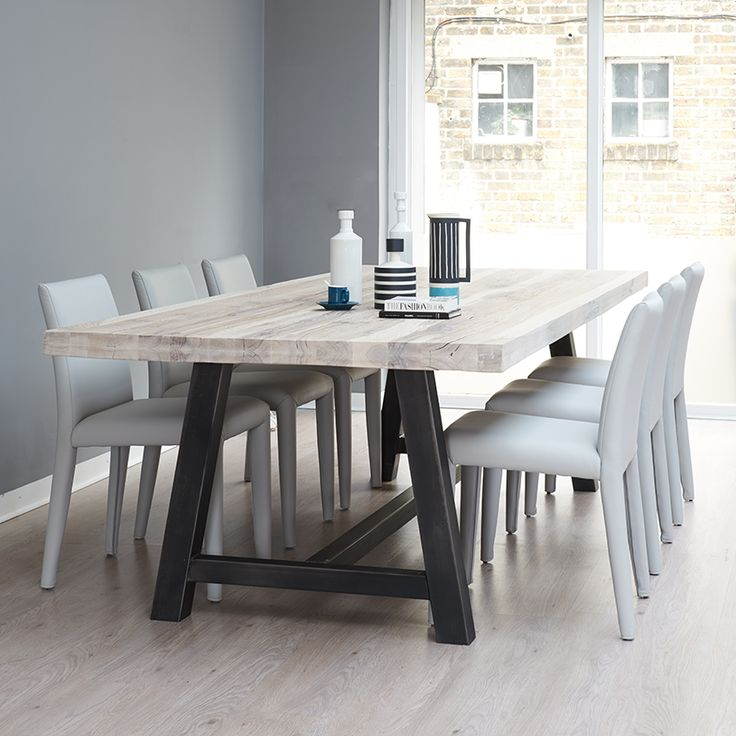 Wood Metal Dining Table