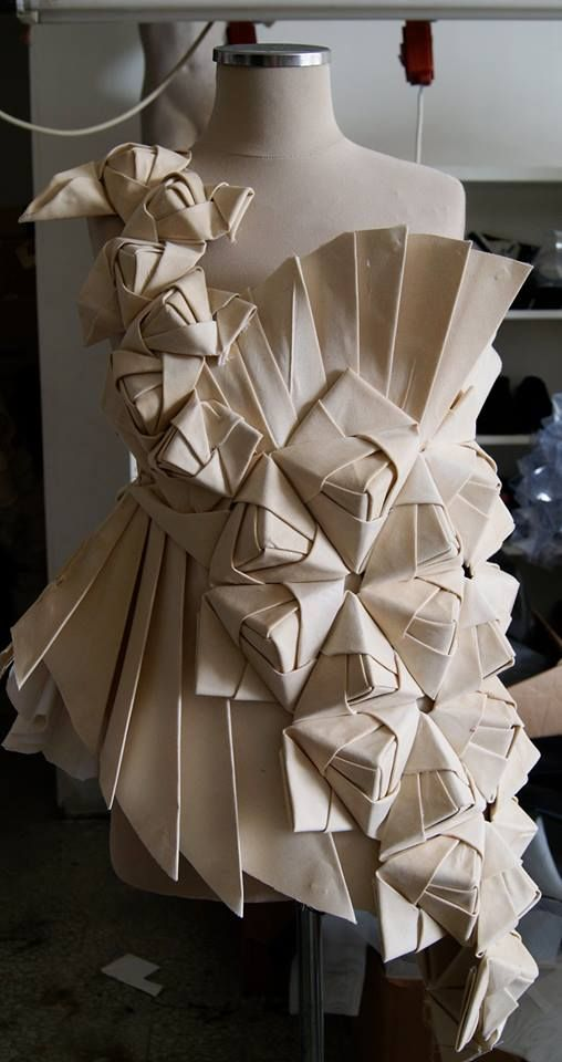 Origami fashion design with an asymmetric pleated structure & wrapped 3D prism shapes - creative draping; couture techniques; fabric manipulation