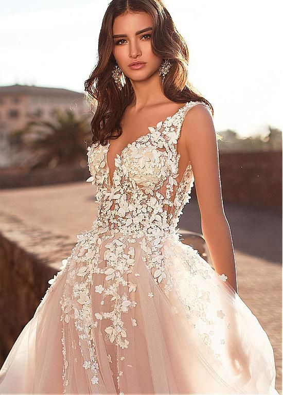 Magbridal Improbable Tulle V-neck Neckline A-line Wedding ceremony Costume With Lace Appliques & 3D Flowers & Beadings
