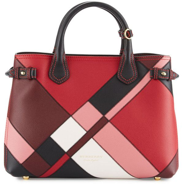 Burberry Banner Medium Patchwork House Check Tote Bag found on Polyvore featuring bags, handbags, tote bags, pink, burberry tote, red leather tote bag, zippered tote bag, handbags totes and zipper tote