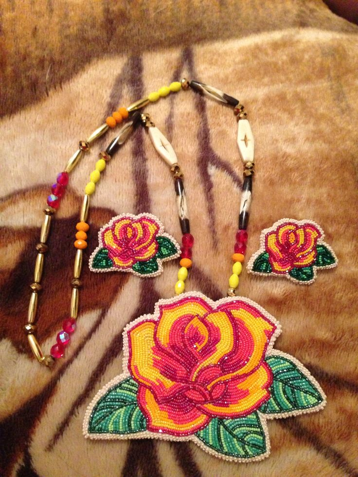 Beadwork - Rose necklace and earring set
