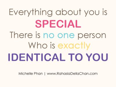 Della Azizah Munawar - Everything about you is special  by Michelle Phan  Everything about you is special  There is no one person  Who is exactly identical to you