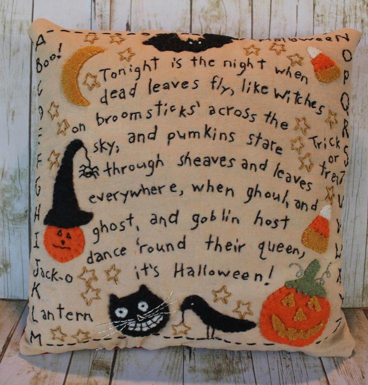 Halloween Home Decor Catalogs: Primitive Halloween Pillow Home Decor Folk Art Country
