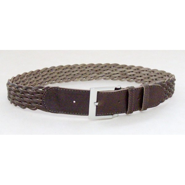 Plaited belt made of 10 stripes of genuine leather, 40 mm width.