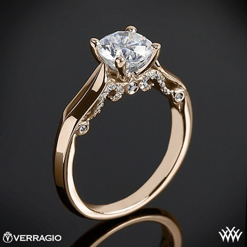 20k Rose Gold Verragio INS 7022 4 Prong Knife Edge Solitaire Engagement Ring