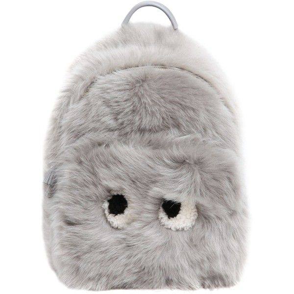 Anya Hindmarch Women Mini Eyes Shearling & Leather Backpack ($2,460) ❤ liked on Polyvore featuring bags, backpacks, light grey, mini bag, leather backpack, mini leather backpack, leather knapsack and leather zipper backpack