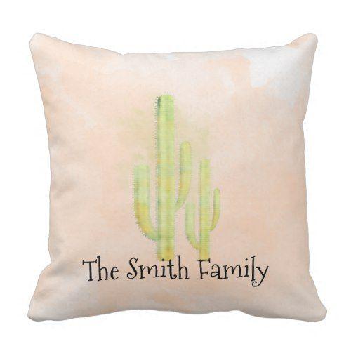 Watercolor Cactus Simple Southwestern Throw Throw Pillow