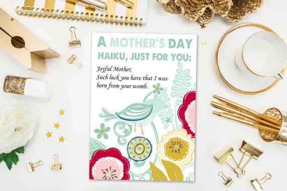 Mother's Day Cards / Funny Mother's Day Card / Haiku / Lucky I Was Born From Your Womb / Mothers Day / Printed Card