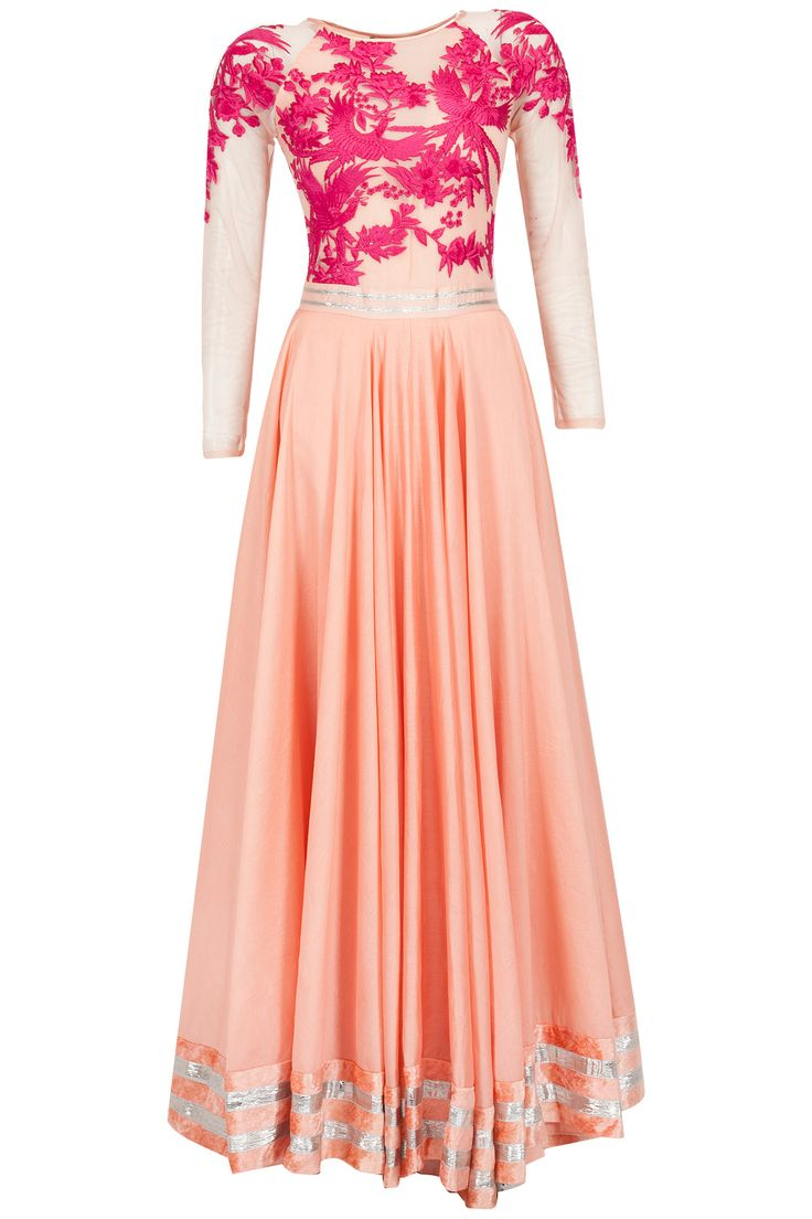 Peach and fuschia embroidered anarkali kurta set available only at Pernia's Pop-Up Shop.